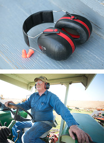 photos of earmuffs and farmer wearing earmuffs while driving tractor