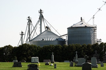 Photo of grain bins next to cemetery.<br />