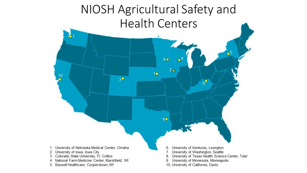 NIOSH Agricultural Safety and Health Centers Map