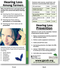 Handout explaining why hearing loss is a problem for farmers and some noises on the farm are loud enough to cause hearing loss (front). (Back) Chart showing noise levels of a variety of farm equipment and environments, and how long it is safe to be in or near them without hearing protection. Below the chart is a list of tips that can help prevent hearing loss.