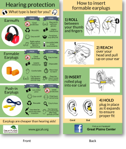 Handout showing the pros and cons of different types of hearing protection on the front. On the back, it shows how to properly insert formable ear plugs.