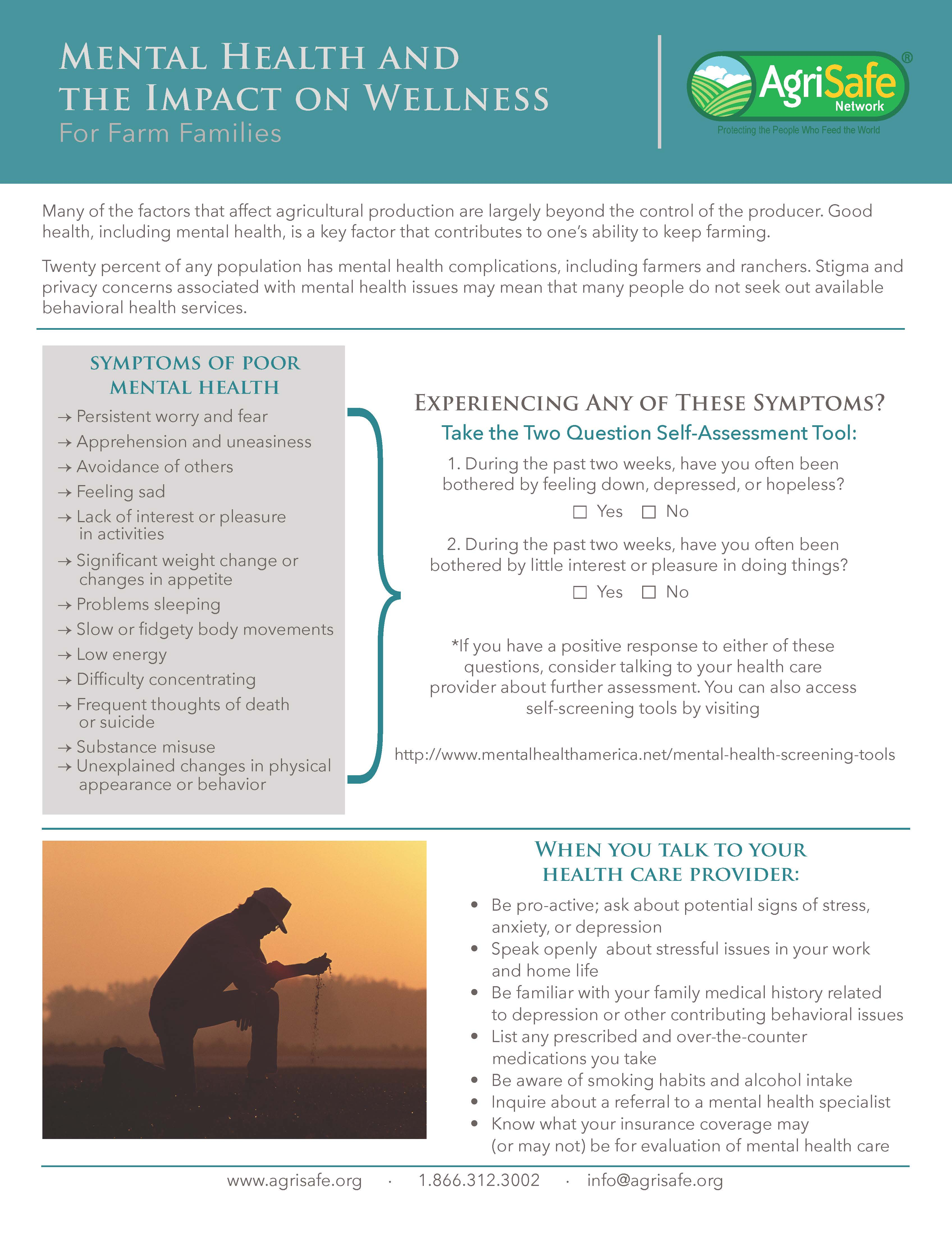 Mental Health Awareness Resource Great Plains Center For Agricultural Safety And Health